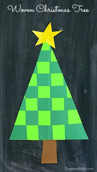 Woven Paper Christmas Tree by Buggy and Buddy | The best ever Easy kids Christmas Crafts. So many fun ideas to get the kids involved in the holiday fun!