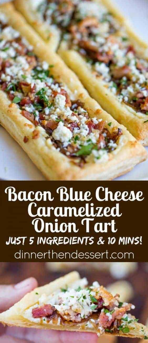 Bacon Blue Cheese Caramelized Onion Tart by Dinner then Dessert and other great easy appetizers for a crowd