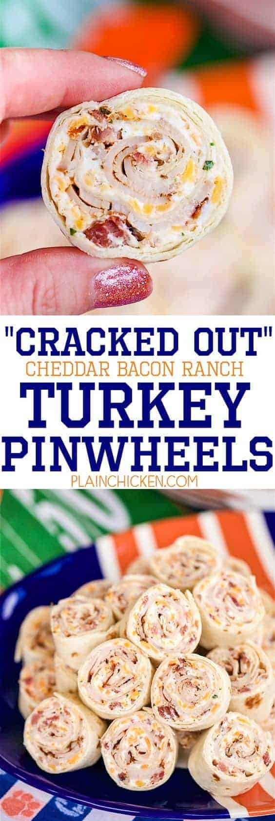 Cracked Out Cheddar Bacon Ranch Turkey Pinwheels by Plain Chicken and other great easy appetizers for a crowd
