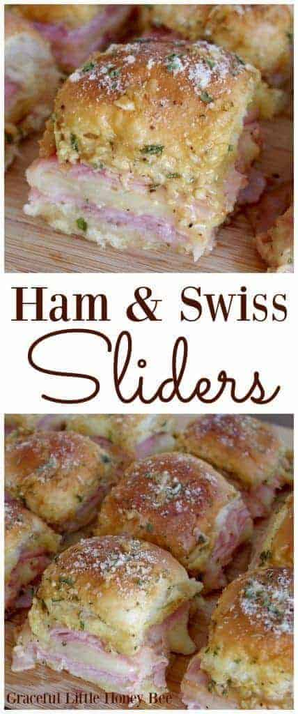 Ham and Swiss Sliders by Graceful Little Honey Bee and other great easy appetizers for a crowd