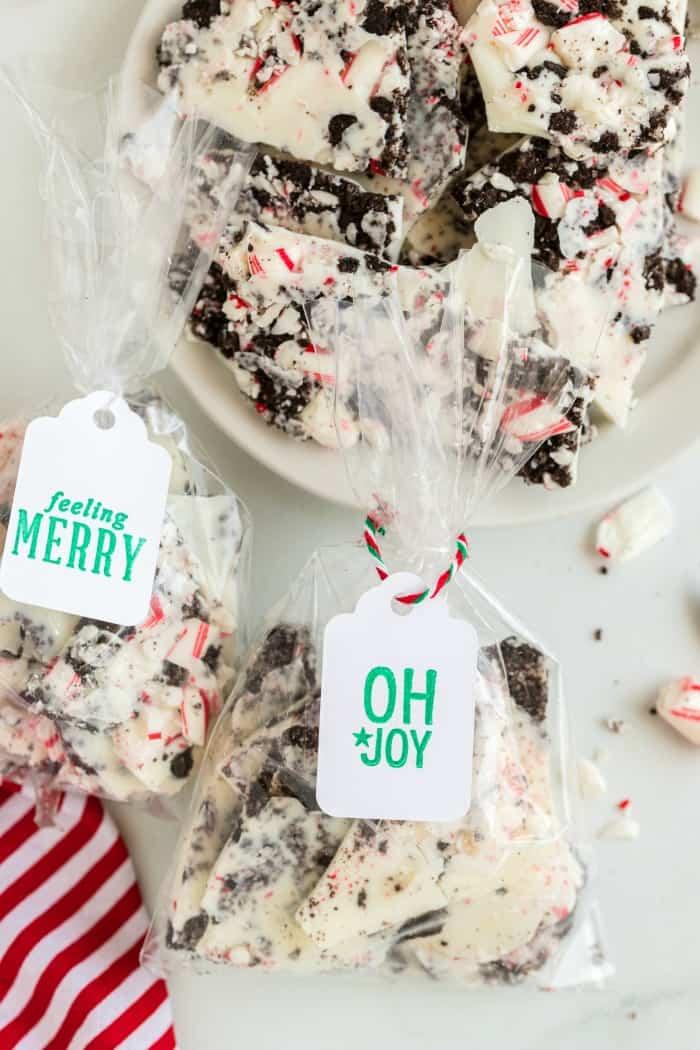 Oreo Peppermint Bark in gift bags