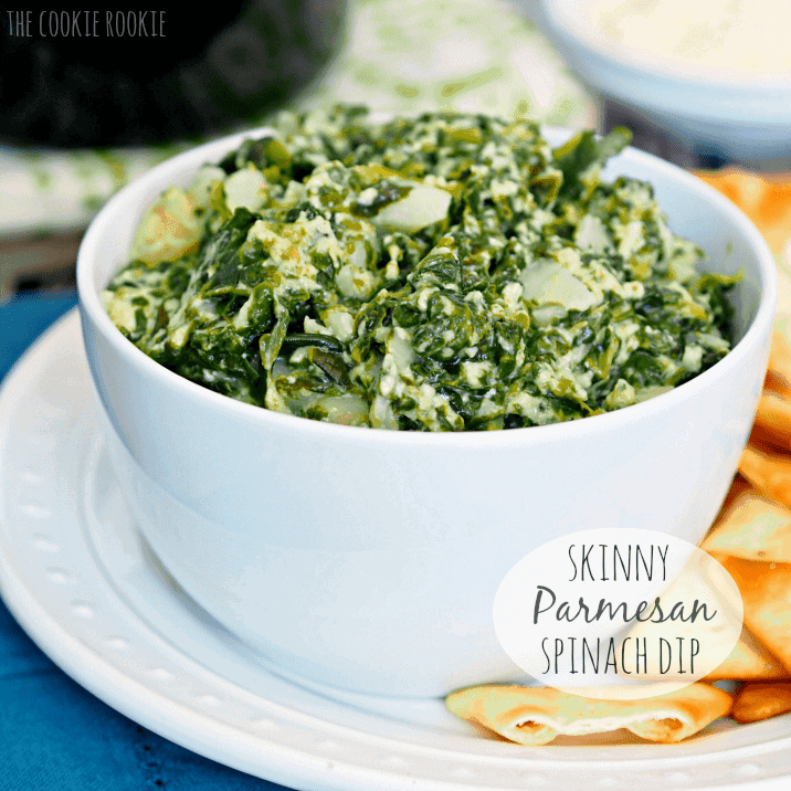 Skinny Parmesan Spinach Dip by The Cookie Rookie | The best healthy recipe ideas that everyone will love!