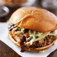 Slow cooker Dr Pepper Pulled Pork Sandwich Feature Image