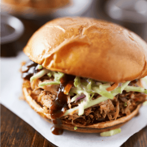 Slow Cooker Dr. Pepper Pulled Pork Sandwich