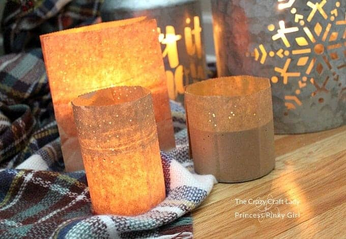 winter luminary craft diy paper bag luminaries. Black Bedroom Furniture Sets. Home Design Ideas