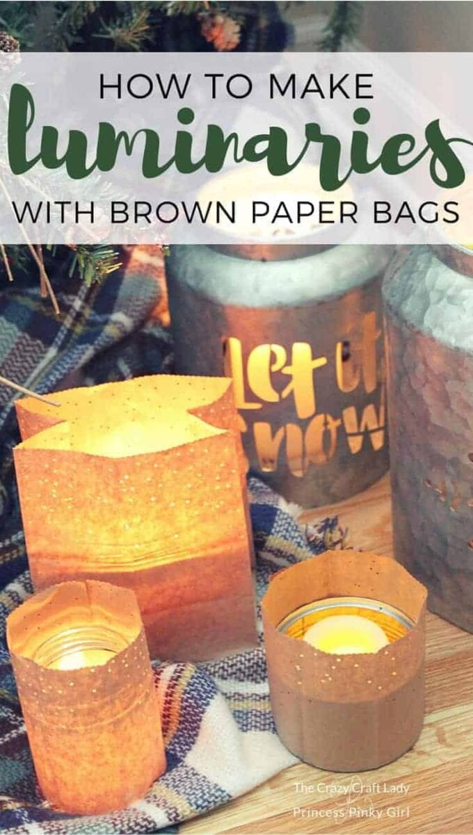 Learn how to make a simple winter luminary craft from brown paper bags, perfect for winter nights. These DIY Paper Bag Luminaries craft will cozy up any space at night.