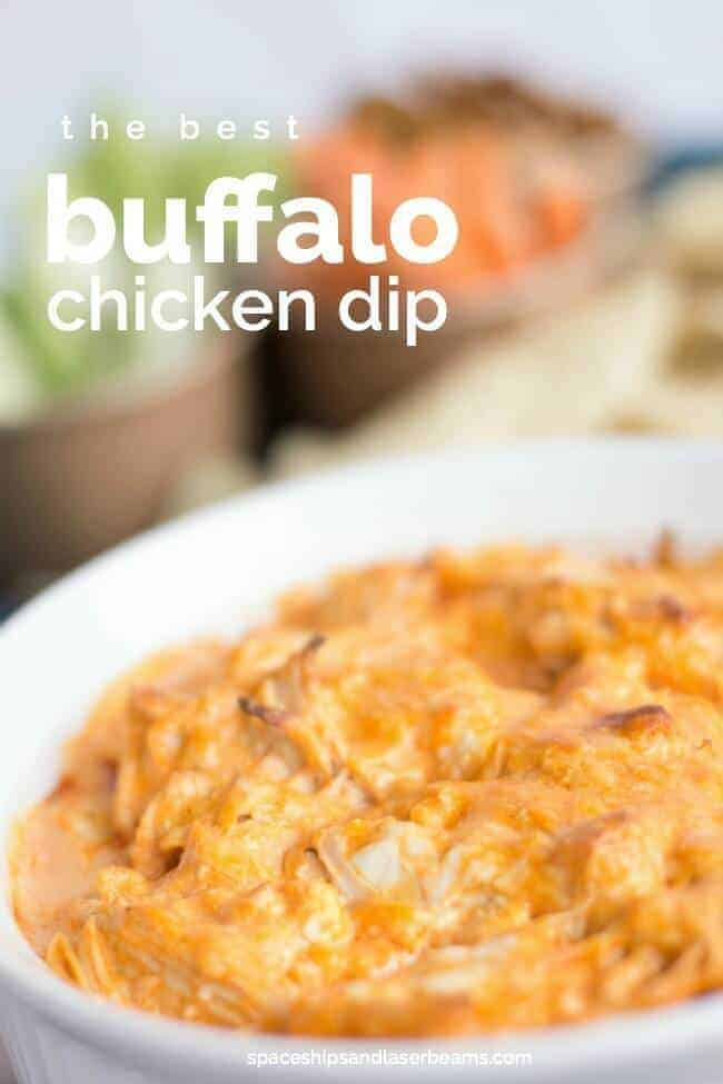 buffalo chicken dip recipe from Spaceships and Laser Beams and easy appetizer recipes for a crowd