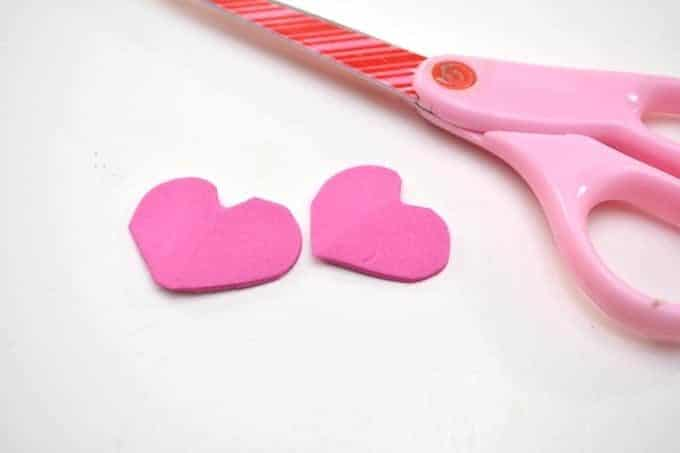 cut felt into hearts for feet