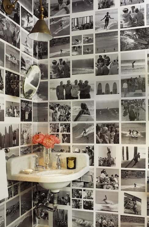 Black and White Photo Wall in Powder Room via DecorPad | Stunning photo walls that anyone can do!
