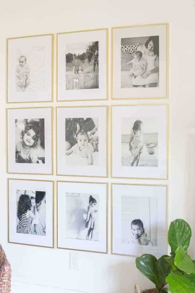 Grid Style Gallery Wall by Making Home Base | The BEST ideas for creating a photo wall in your home!