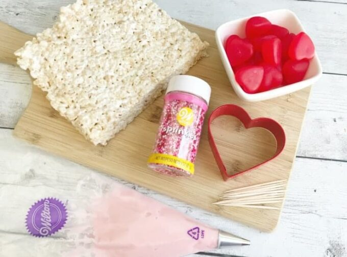 Ingredients need to make Valentine's Rice Krispie Treat Hearts