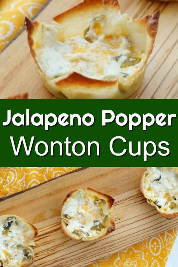 Jalapeno Popper Wonton Cups - Easy appetizer and perfect for your Super Bowl Party or big game