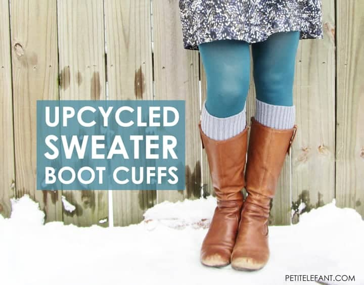 Make boot cuffs from a Sweater by Petit Elefant | See even more cold weather hacks that will help you survive the winter.