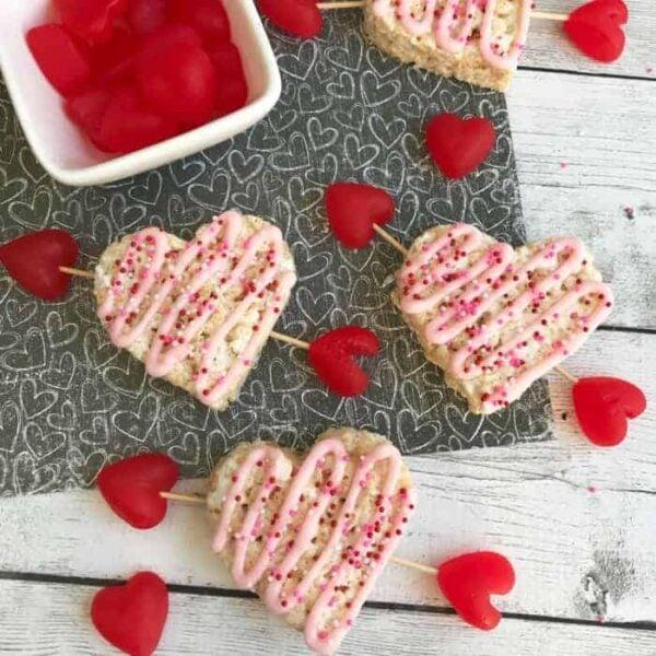 Valentine's Rice Krispie Treats Hearts