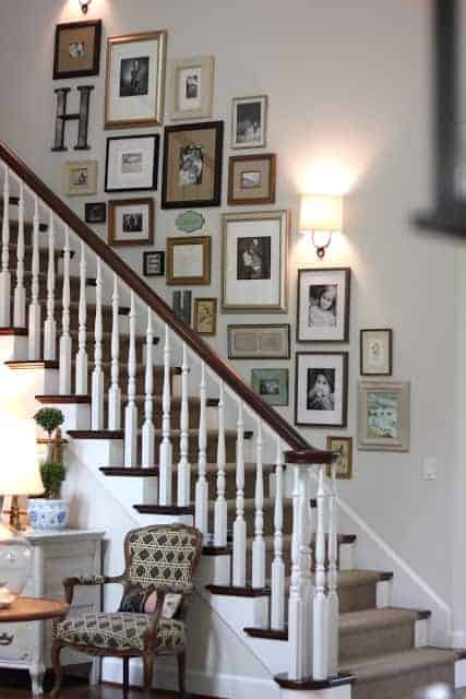 Stairwell Photo Wall by Forever Cottage | So many creative ideas for photo gallery walls!