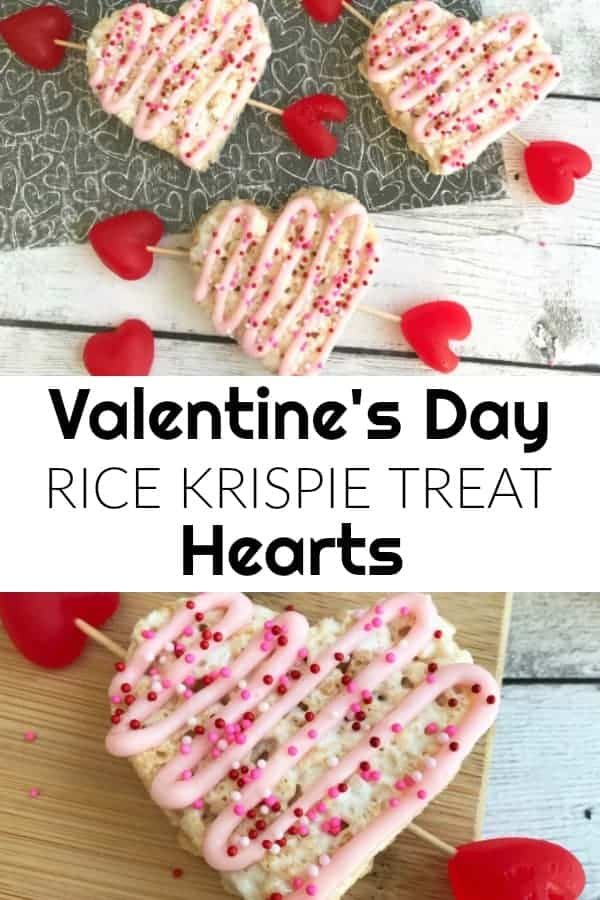 These Valentine's Rice Krispie Treat Hearts are the perfect dessert for your Valentine's Day. The marshmallow treats cut out into heart shapes will be a delicious treat for your special Valentine!