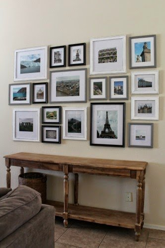 Travel Gallery Wall by Away She Went | Creative ways to display photos on loads of photo gallery wall ideas