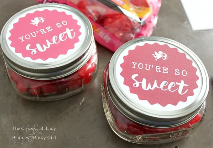 Valentine's Day Free Printable Mason Jar labels for a cute DIY project and gift