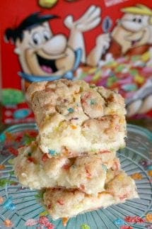 Fruity Pebbles Cookie Cheesecake Bars