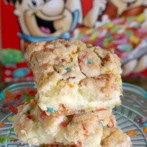 Fruity Pebbles Cookie Cheesecake Bars