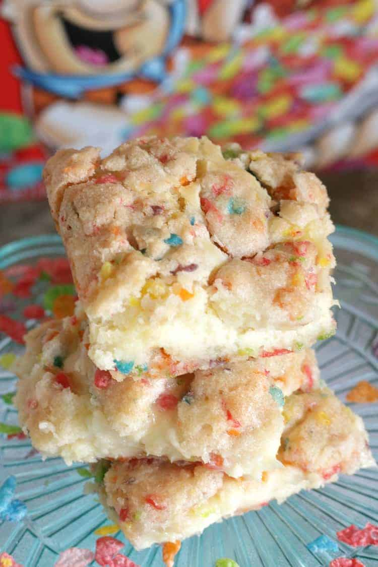Fruity Pebbles Cookie Dough Cheesecake Bars