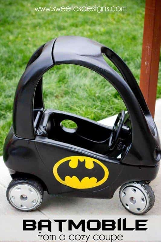 Batmobile from a Cozy Coupe by Sweet C's Designs | So many awesome ideas for cozy coupe refashions