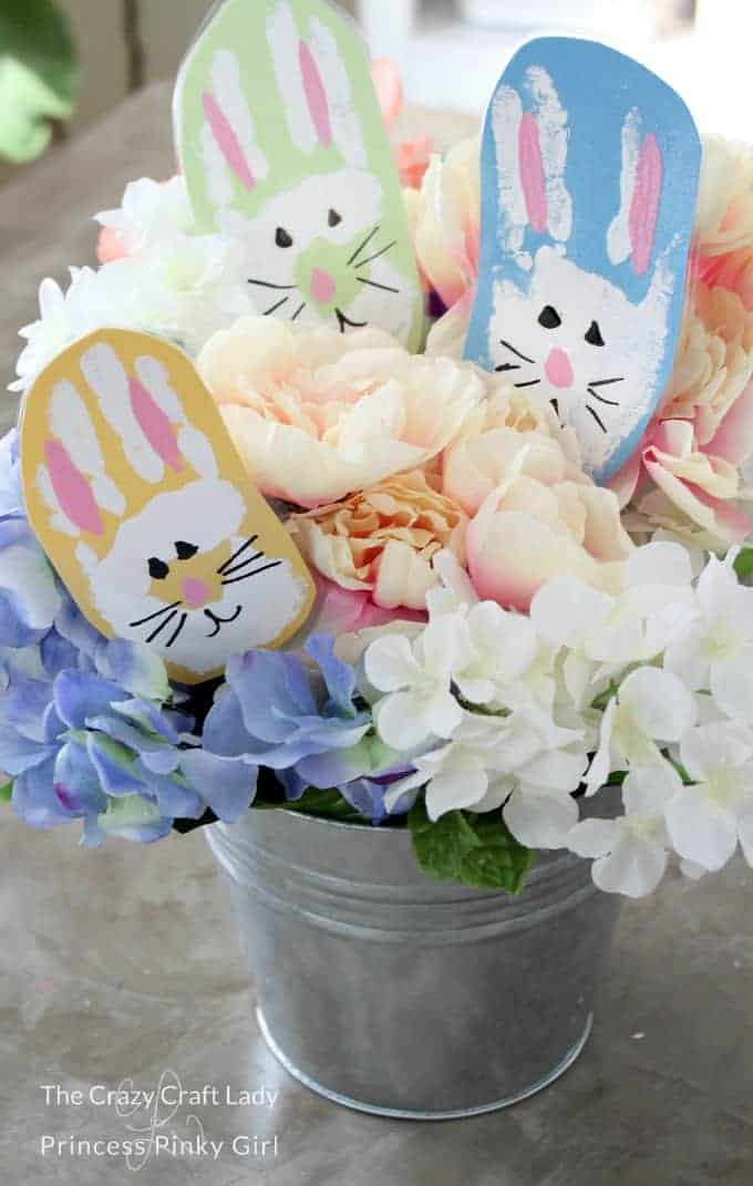 Bunny Handprint Craft in a spring bouquet of flowers