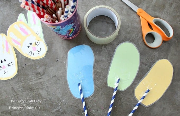 Fun Bunny Handprint Craft - attache the straw