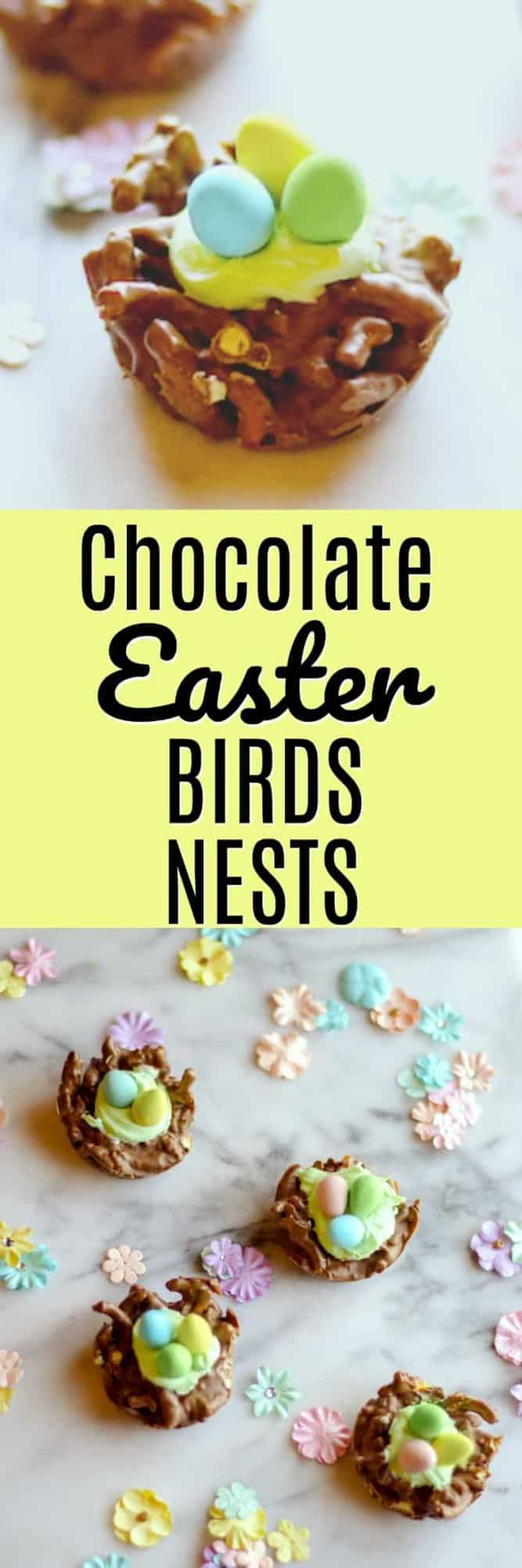 These Chocolate Easter Birds Nests are super quick to cook up and the pretzels and chocolate make a delicious sweet and salty Easter treat! They are no-bake AND only use 5 ingredients!
