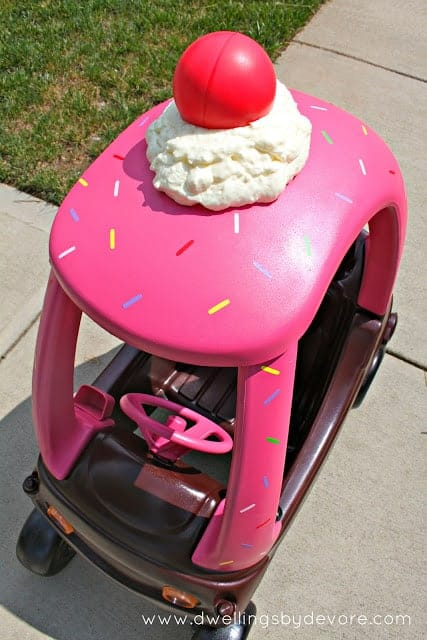 Cupcake Delivery Car Cozy Coupe Makeover | Cozy Coupe Makeover Ideas that Rock!