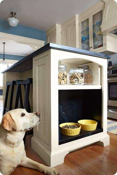 Dog Food Nook in Kitchen by Thrifty Decor Chic | DIY Dog Hacks