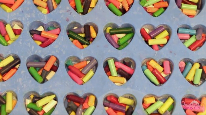 broken crayons in silicone heart mold