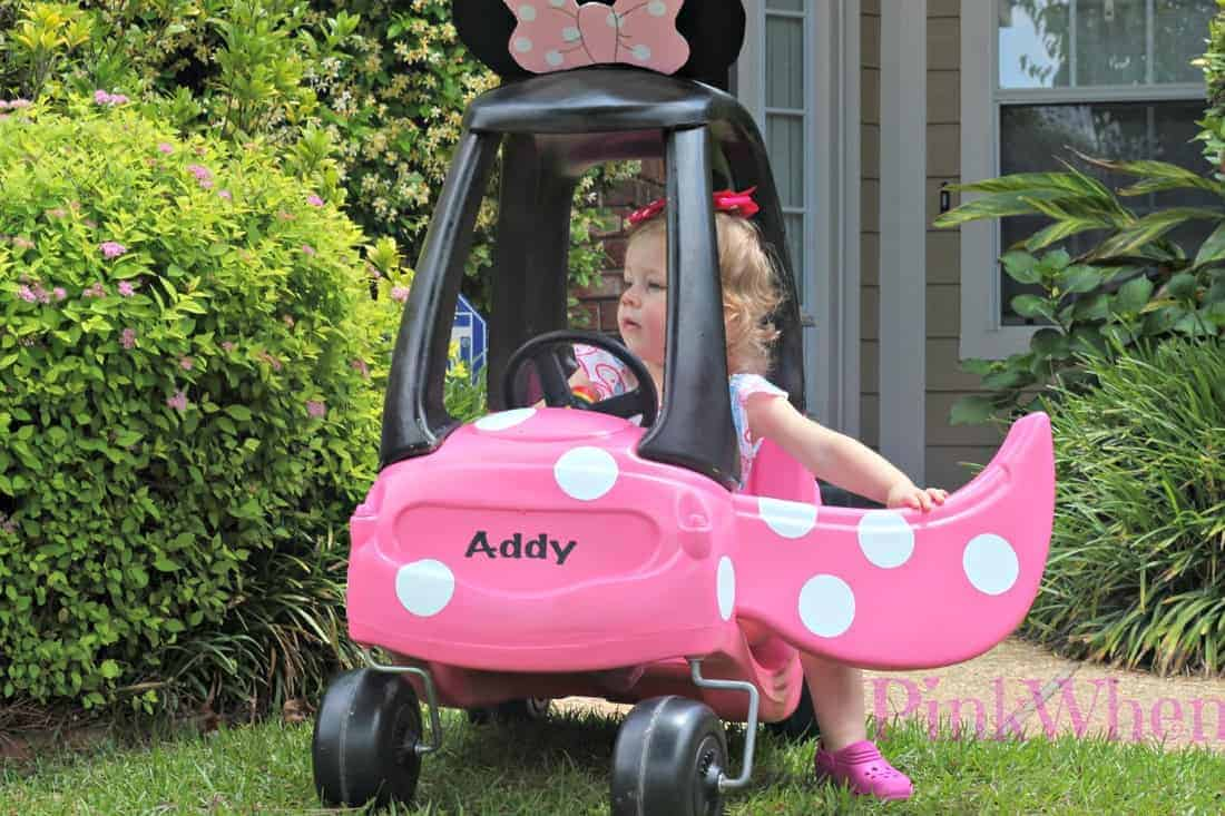 Minnie Mouse Coupe by Pink When | Cute ideas for transforming Cozy Coupe Cars!