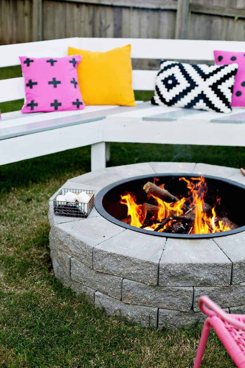 Four Step DIY Fire Pit by A Beautiful Mess | Budget Backyard Ideas that you can make in a Weekend!