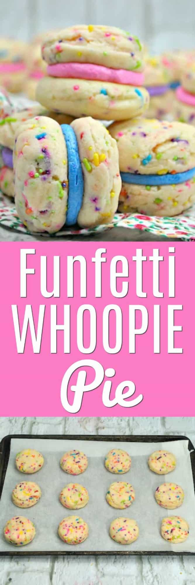 These Funfetti Whoopie Pies bring a whole rainbow of colors and sprinkles to the traditional whoopie pie recipe! Some may call them Unicorn Whoopie Pies or Rainbow Whoopie Pies, but I just call them delicious! Cake-like sandwich cookies filled with cream - Count me in!