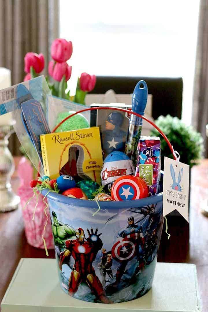 Kids easter basket ideas made easy for baby kids and tween marvel easter basket idea for boys negle Images