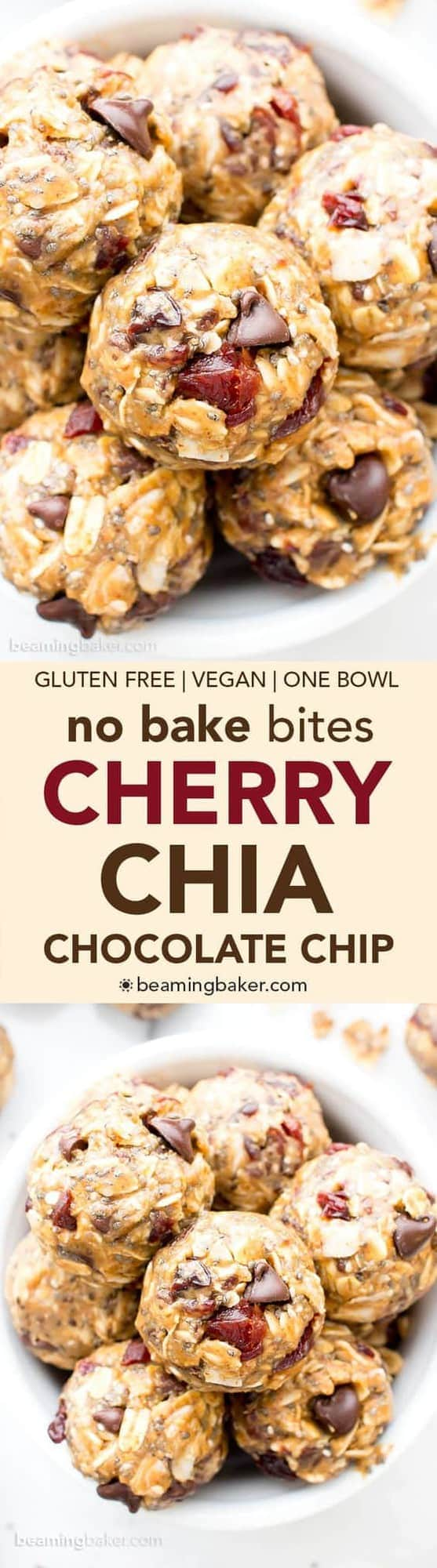 No Bake Cherry Chocolate Chip Chia Energy Bites by The Beaming Baker | The Ultimate Collection of Energy Bite Recipes