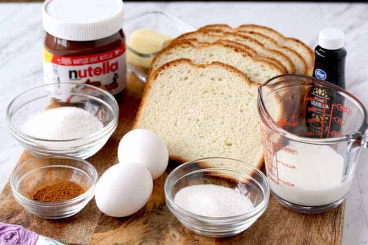 Ingredients for Nutella French Toast Roll-Ups - eggs, sugar, bread, vanilla, cinnamon
