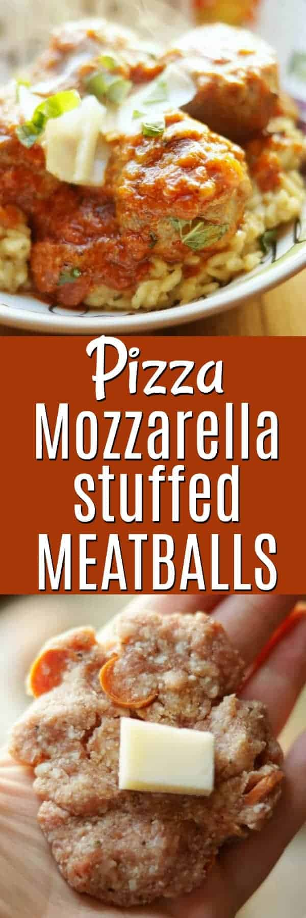 Pizza mozzarella stuffed meatballs