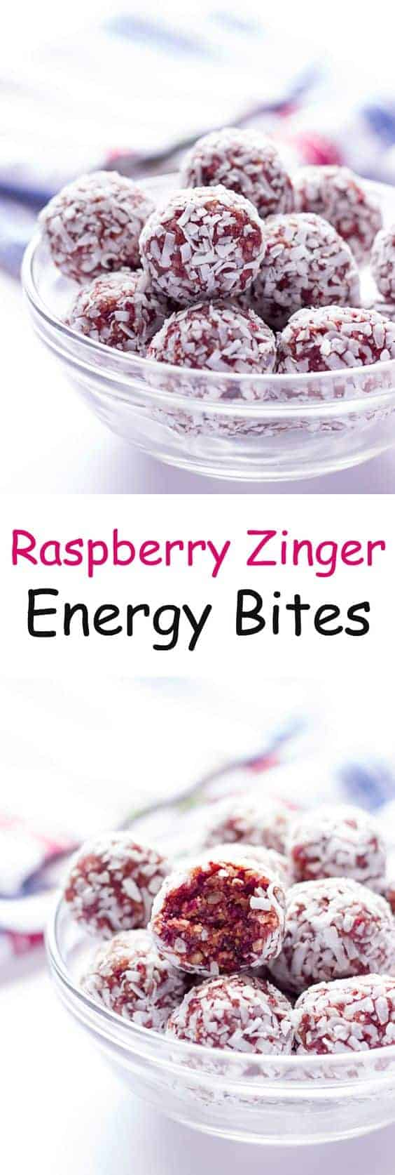 Raspberry Zinger Energy Balls by Wholesome Dish | Energy ball recipes that everyone will enjoy!