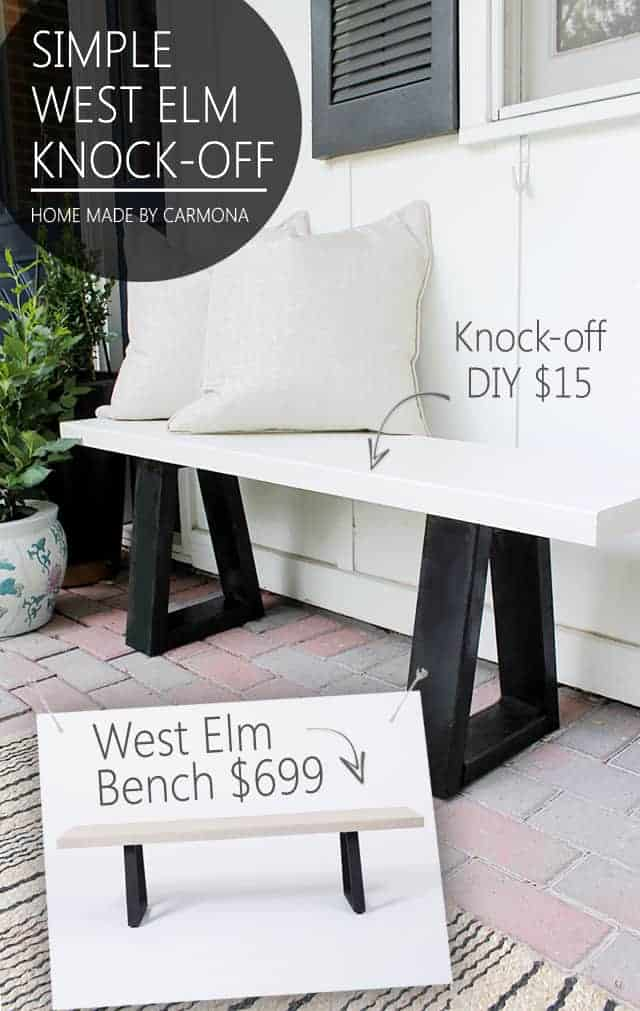 West Elm Bench Knock Off by Homemade by Carmona | Budget Backyard Ideas you can do in a weekend!