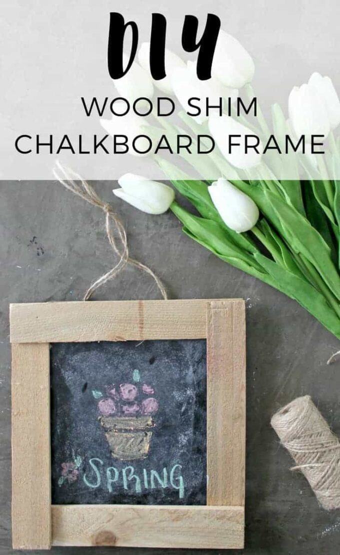 Make swapping out seasonal décor a breeze with this simple DIY Chalkboard Frame made from wood shims. How to make a simple, rustic wooden frame.