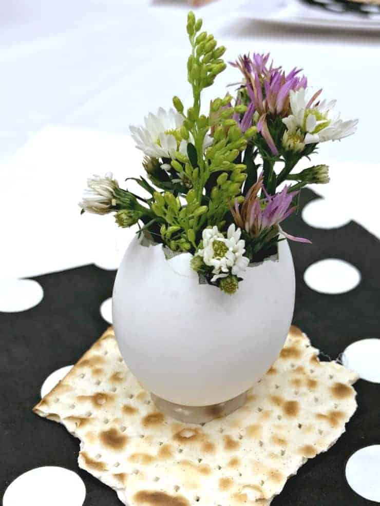 eggshell bud vase with spring flowers