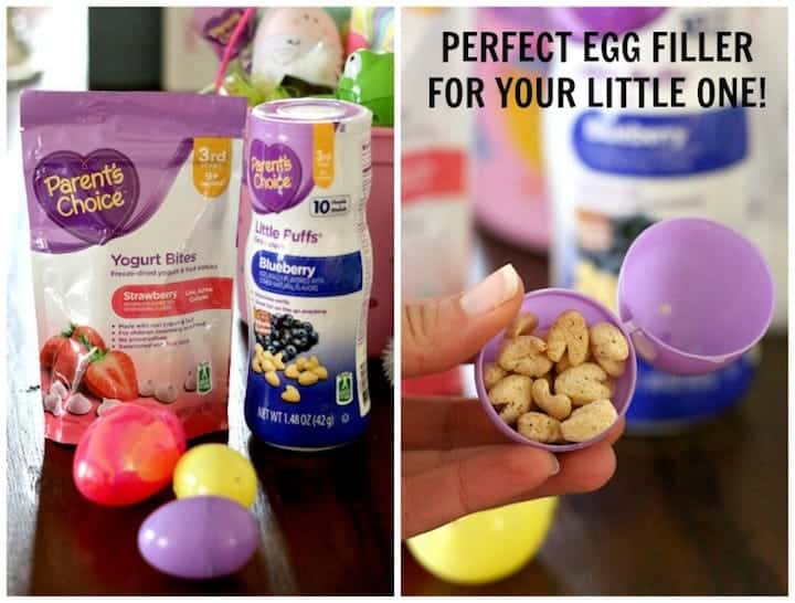 filling an easter basket for a baby