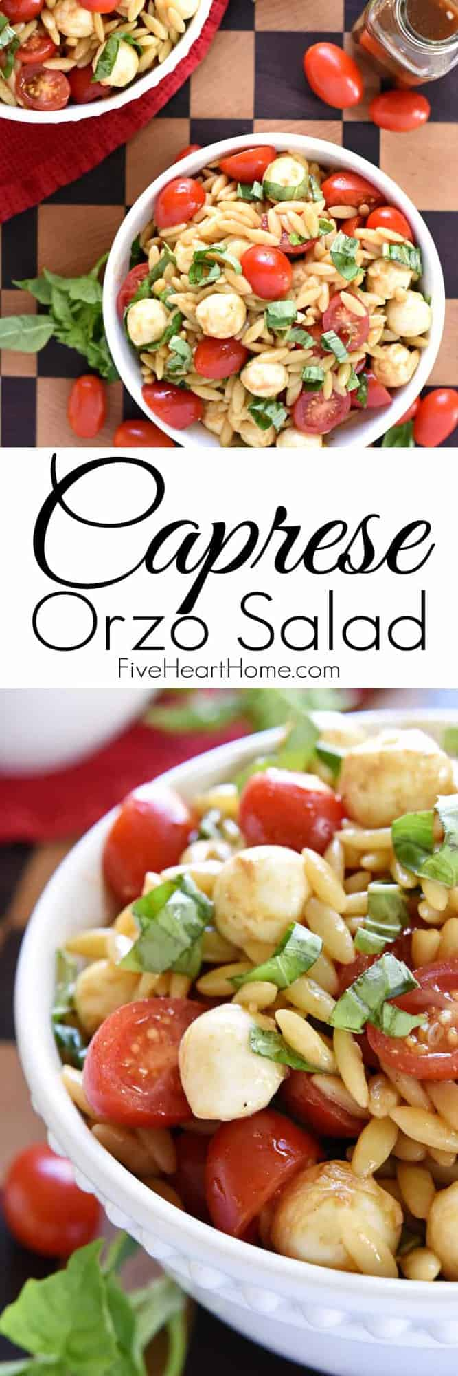 Caprese Orzo Pasta Salad by Five Heart Home | Delicious Pasta Salad Recipes just in time for Summer!