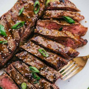 Grilled Rib Eye Steak with Ginger Teriyaki Sauce