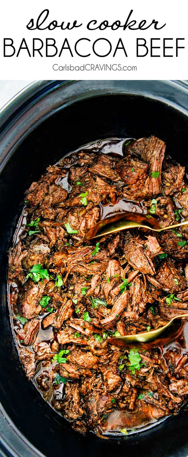 Slow Cooker Barbacoa Beef by Carlsbad Cravings | Healthy and Delicious Make Ahead Meals
