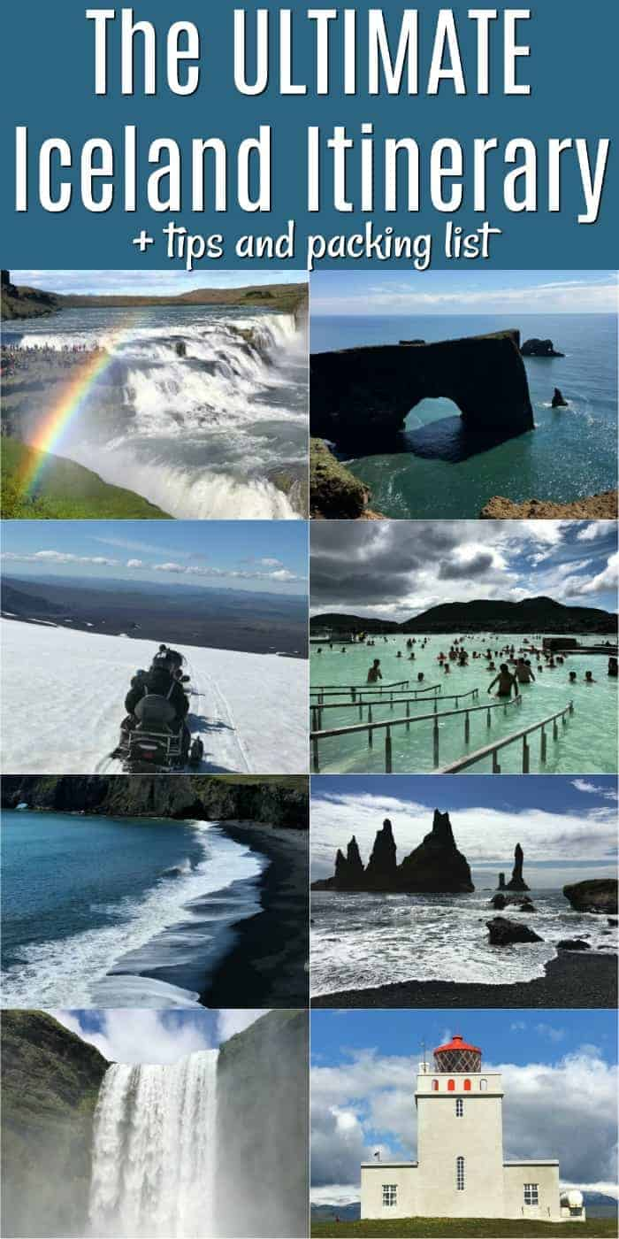 Iceland Itinerary plus great tips and packing lists! Iceland is a magically beautiful vacation spot full of waterfalls, amazing hikes and beautiful black sand beaches - and that is just the tip of the iceberg!