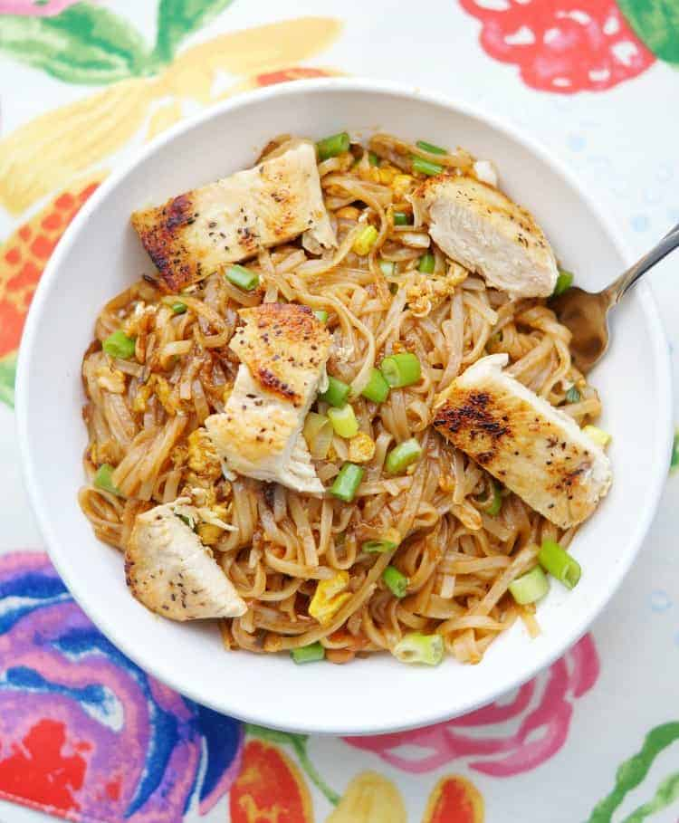 chicken Pad Thai Recipe in a bowl