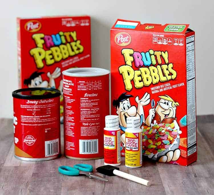 Materials needed to make a CIY Cereal Box Utensil Holder
